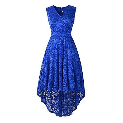 3aae6de00a7 Amazon.com  Copercn Women s Ladies Vintage Lace Patchwork V-Neck Sleeveless  Wrap Waist Asymmetry Hem Midi Dresses Evening Party Dresses Cocktail  Dresses  ...