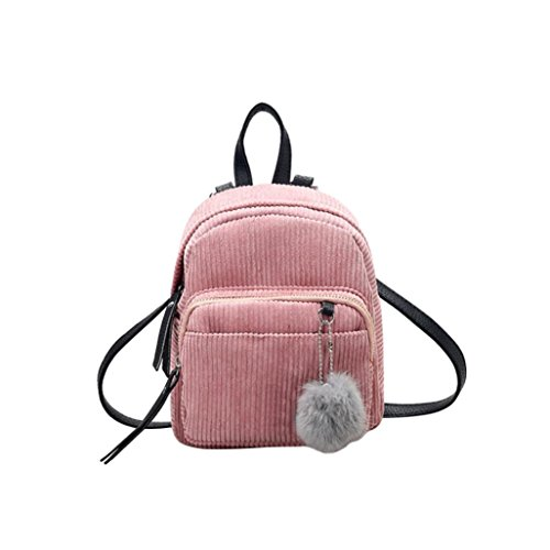 Yuan Women Mini Bag Pendant Solid Satchel Rucksack Travel Corduroy Color School Retro Pink Simple Ball Pompom Female Bag Backpack 4qCqdPrg