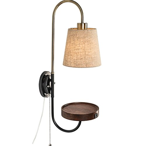 CCF Wall Lamp Bedside Simple Modern Bedroom Living Room Aisle Continental Northern Europe Solid Wood Wall Light American Lamps (Color : Black walnut (Wall Bracket Fixture Walnut)