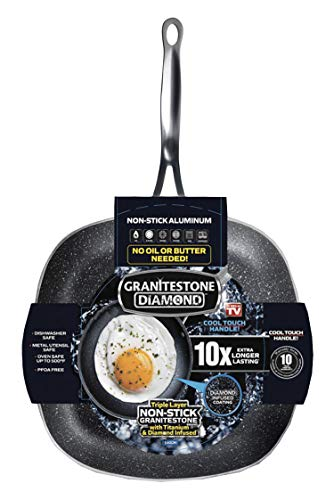 Granitestone Square Non-stick, No-warp, Mineral-enforced Pan PFOA-Free As Seen On TV (9.5-inch)