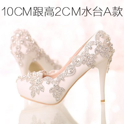 Bride Women 5 High Heel Party 10Cm For VIVIOO Shoes Heels Waterproof Shoes Prom White Shoes Crystal Wristband 5 Crystal Colorful Wedding Sandals Diamond qIASg