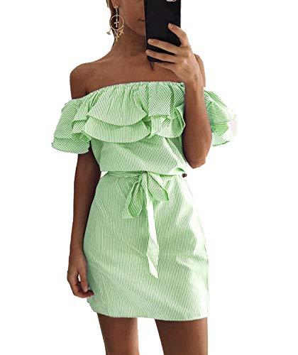 Striped Summer Dress Ruffle Collar Bandage Sundress Casual Sexy Bodycon Summer Dress,Green,S ()