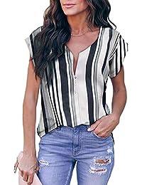 Lylinan Summer Tops for Women Short Sleeve Side Split Casual Loose Tunic Top