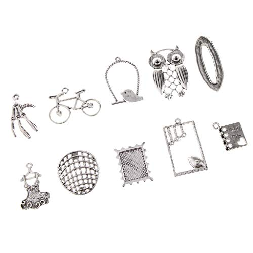 10PCs Silver Tone Mixed Owl Palm Birds Bicycle Shape Pendants Charms Jewelry