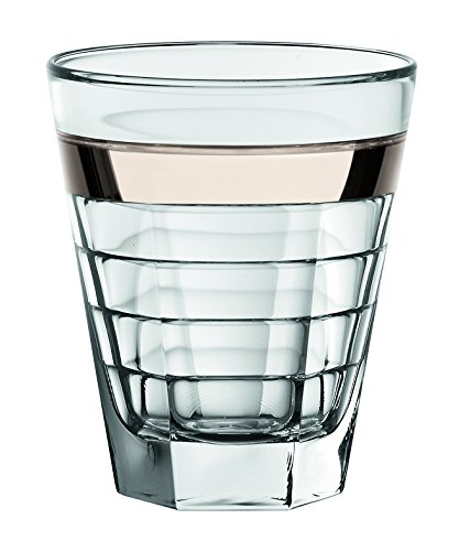 (Barski European Glass - Double Old Fashioned Tumbler Glasses - with Platinum Band - Set of 6 - 11.5 oz. - Made in Europe)
