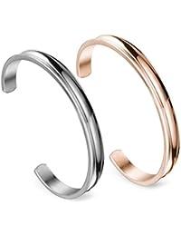 Stainless Steel Bracelet Grooved Cuff Bangle for Women Girls