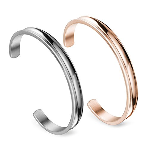 Zuo Bao Stainless Steel Bracelet Grooved Cuff Bangle for Women Girls£¨Silver+Rose Gold£