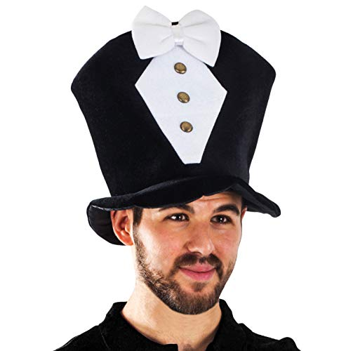 Tigerdoe Groom Hat - Bachelor Party Hat - Tuxedo Costume - Costume Hats for Adults - Costume Top Hats Black and White -