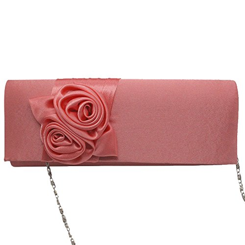 Wiwsi Flap Evening Floral Color Pleated hot Clutch Rose Satin Different Premium pink Bag xgrEqwX0gP