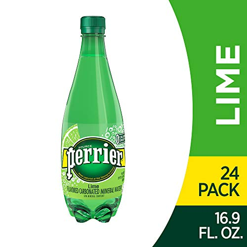 Perrier Lime Flavored Carbonated Mineral Water, 16.9 fl oz. Plastic Bottles (Pack of 24)