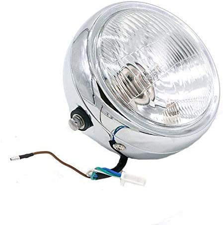 OUYAWEI 6.5Universal Motorcycle Refit Headlight with Brackets DC 12V Motorbike Vintage Head Lamp Scooter Round Spotlight Motor Front Lights Black Yellow Auto Accessories