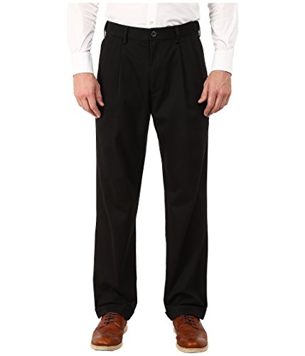 Dockers Men's Men's Comfort Khaki Stretch Relaxed Fit Pleated Black Metal Pants - Hem Cuff Pants