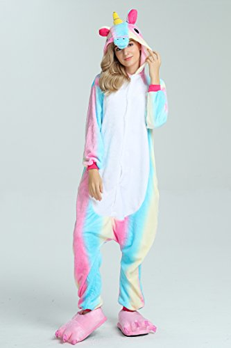 Taiyi Homewear Childrens Unicorn Plush One Piece Onesie Cosplay Animal Costume (12Yrs(height 59''-63''/150cm-160cm), Rainbow Flying Horse) by Taiyi (Image #1)