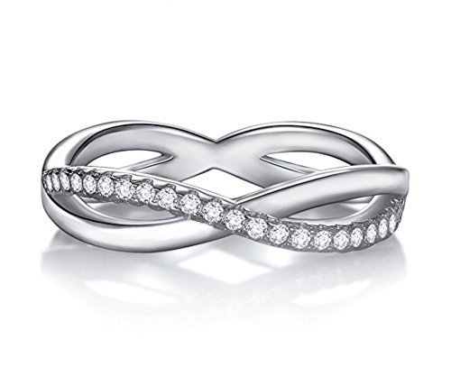 (Venetia Designer Double Infinity Eternity Stackable Simulated Diamond Band Ring 925 Silver Platinum Plated (8))