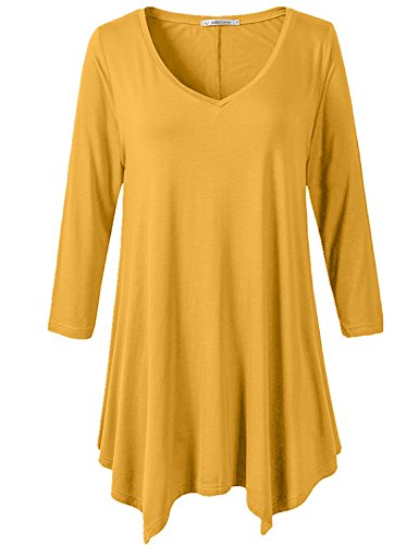 JollieLovin Womens Plus Size 3/4 Sleeve Loose-Fit T Shirt For Leggings Tunic Top (Yellow, L)