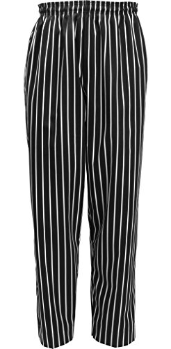 (Fame Fabrics 81175 C15 Baggies Chef Pants, Black & White Chalk Stripe, MD)