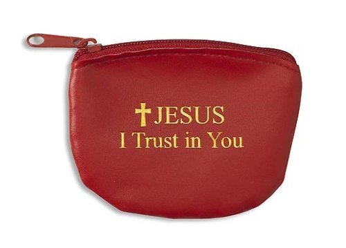 (Jesus I Trust in You with Cross Gold Letter Red Rosary Keepsake Jewelry Vinyl Pouch Case)