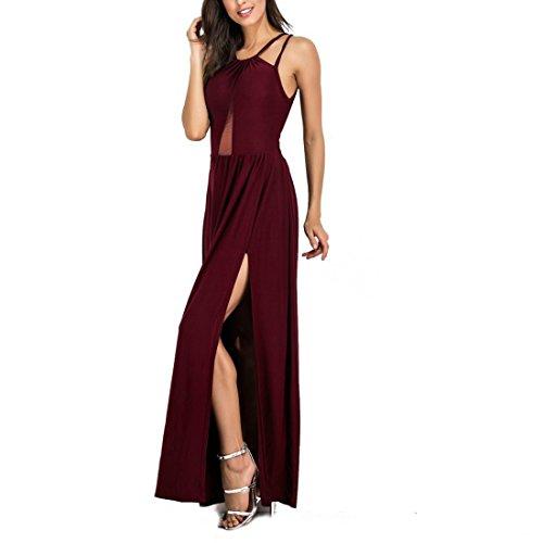 Taille Plus Les Femmes Sexy Jambe Séparons Manches Longues Robe Rouge Dates Entrecroisement Dos Nu Licol Robe De Cocktail Longue Fête De-5xl