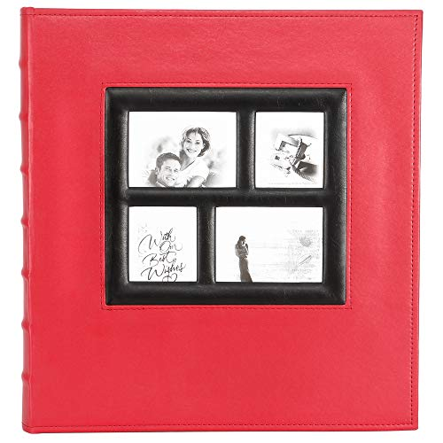 Photo Picutre Album 4x6 500 Photos, Extra Large Capacity Leather Cover Wedding Family Photo Albums Holds 500 Horizontal and Vertical 4x6 Photos with Black Pages (Red)