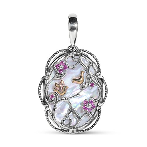 (Carolyn Pollack Sterling Silver & 14K Rose Gold Plated Rhodolite Garnet and Mother of Pearl Bird Flower Pendant Enhancer)