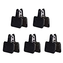 5Pairs Durable Bicycle Disc Brake Pads Cycling Portable Resin Disc Brake Pads with Snap Spring (Black)