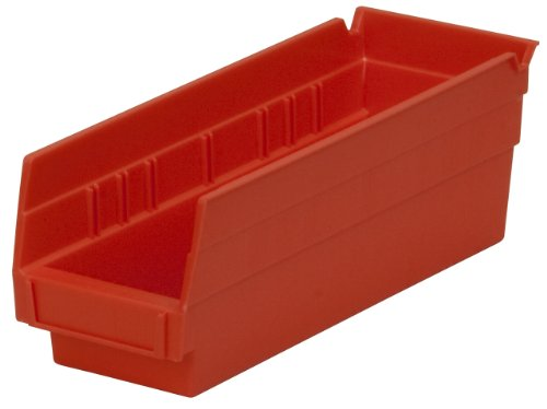 (Akro-Mils 30120 12-Inch by 4-Inch by 4-Inch Plastic Nesting Shelf Bin Box, Red, Case of)