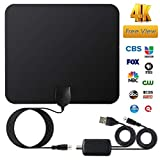TV Antenna for Digital TV Indoor HDTV Antenna With 120 Miles Long Range Support 4K 1080p,All Older TV's With Powerful Detachable Amplifier Signal Booster, Power Adapter,Long Coax Cable [2019 Upgraded]