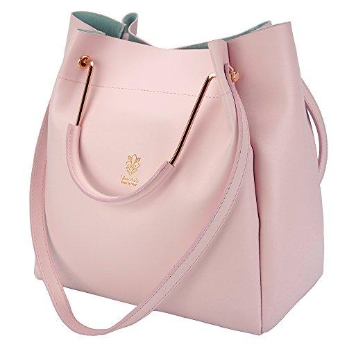 Genuino bolsos Florence De Market Al Tote Shopping Bolso Leather bolso Hombro Eleonora Rosa Cuero bolso YYqZz