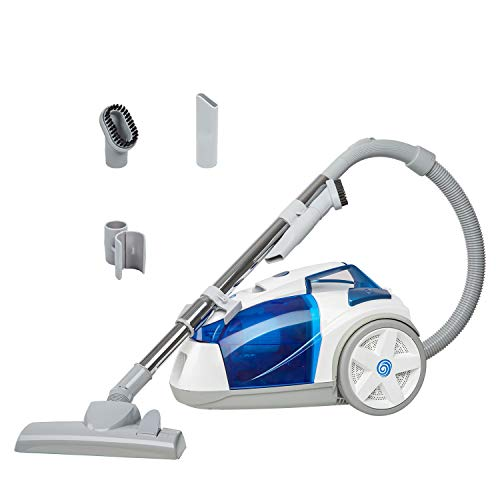 Vacmaster CC0101 Compact Bagless Canister Vacuum, White & Blue