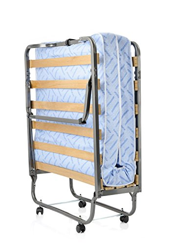 Milliard Super Strong Portable Twin Size Folding Rollaway Bed, with Wooden Slats and Comfortable Foam Mattress