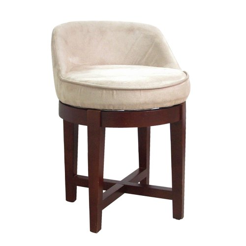 - Elegant Home Fashions Swivel Chair with Beige Faux-Suede Upholstery, Cherry