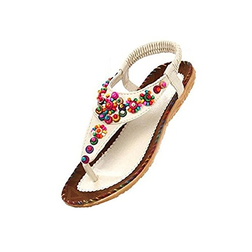 ZHIHONG Womens Ladies Summer Thong Sandals Flats Toe Post Flip Flops Casual Boho Shoes (7.5 US, Beige)