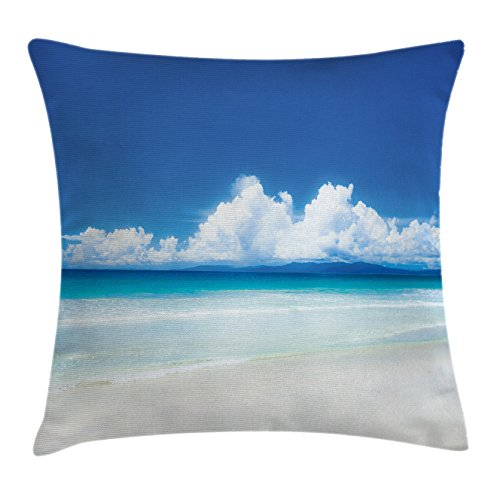 """Ambesonne Scenery Throw Pillow Cushion Cover, Summer Season in The Sunny Beach Wavy Sand Ocean Sea Shore Fluffy Clouds Image, Decorative Square Accent Pillow Case, 24"""" X 24"""", Turquoise Blue"""