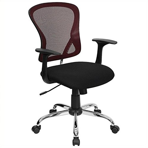 Flash Furniture Mid-Back Burgundy and Black Mesh Swivel Task Chair with Chrome Base and Arms - Swivel Burgundy Task Chair