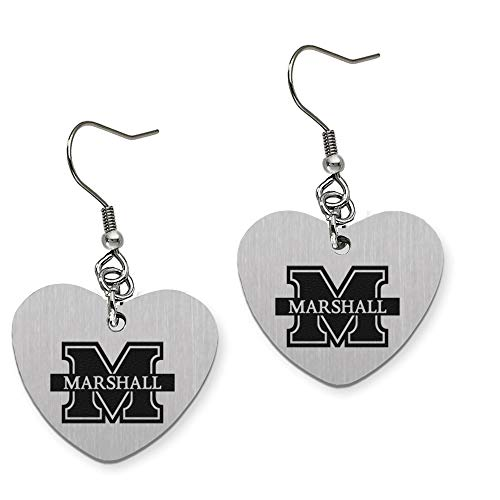 (College Jewelry Marshall University Thundering Herd Heart Shape Drop Charm)