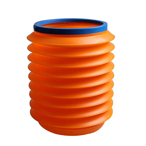 (Amaping Automotive Portable Multifunctional Telescopic Folding Silicone Bucket with Handle for Mini Trash Can Water Storage Bucket, Collapsible Pail Vehicle Cylinder Barrel 4L (Orange))