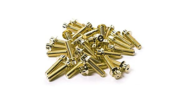 SRR Hardware Gold Two Piece Split Rim Assembly Bolts M7 x 24mm 10.9 HT Steel for BBS RM OZ Wheels 140