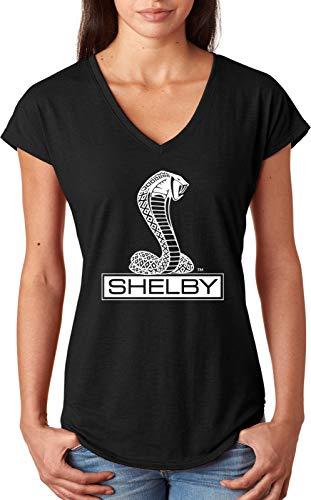 Ford Shelby Cobra Ladies Triblend V-Neck Shirt, Black Large (Shelby Super Snake)