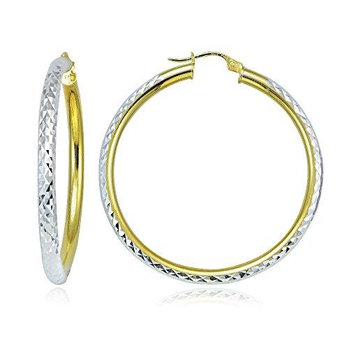 Hoops & Loops Sterling Silver Two Tone 3mm Diamond Cut Round Hoop Earrings, 40mm