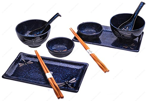 M.V. Trading MBH85NV Complete 10-Piece Sushi Set for Two with Blue Dragonfly Design, Navy Blue Color (10 Sushi Piece)
