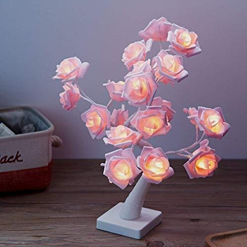 24 LEDs Pink Rose Bedroom Table Lamp Nightlight Battery Powered or Plug in,Timer,Warm White,Adjustable Branch,Decorative Light for Nightstand Wedding Party Girl Daughter' Gift ()