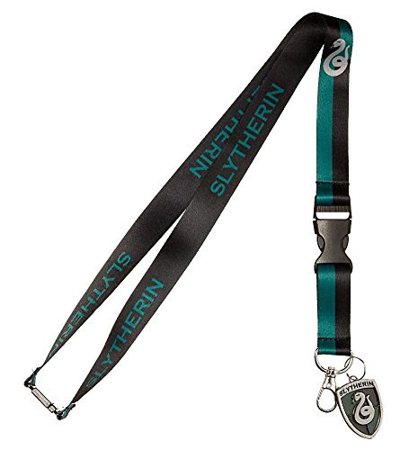 Harry Potter Slytherin House Reversible Breakaway Keychain Lanyard with ID Holder, Metal Charm and Collectible Sticker (Sticker Crest)
