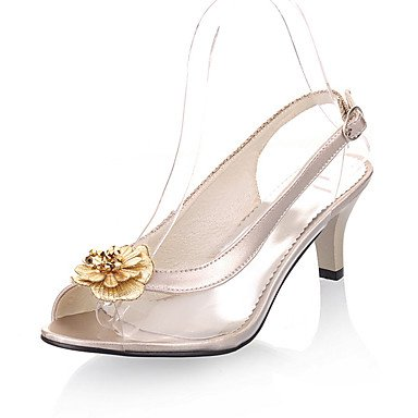 Sandalias de mujer vestidos primavera verano otoño PU Parte Casual &Amp; Noche Stiletto talón Flor de Oro Negro Plata US8.5 / EU39 / UK6.5 / CN40