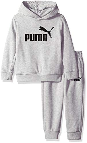 PUMA Boys' Little Fleece Hoodie Set, Light Heather Grey, 7