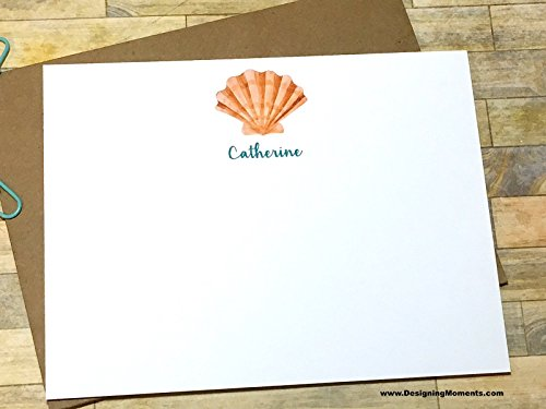 Seashell Personalized Note Card Set - Watercolor Beach Stationery - Stationary - Custom Personalized Cards - Sea Shell Thank You Cards DM180 by Designing Moments