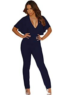 9df32be8f41 Dreamworld New Dark Blue Cape Sleeves V Neck Jumpsuit Catsuit Club Wear  Party Evening Wear Size