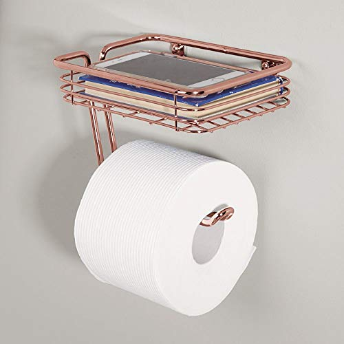 mDesign Toilet Tissue Paper Holder and Multi-Purpose Shelf - Wall Mount Storage Organizer for Bathroom, Holds 1 Mega Rolls - Durable Metal Wire Design - Rose Gold