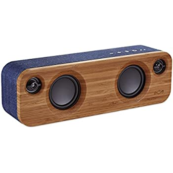 """House of Marley, Get Together Mini Bluetooth Portable Audio System - 2 x 2.5"""" Woofer & 2 x .75"""" Tweeters, Pair 2 Units for Stereo Sound, Integrated Mic, 45ft Wireless Range, EM-JA013-DN Denim"""