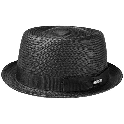 Stetson Classic Toyo Pork Pie Straw Hat Women/Men Black L (7 1/4-7 3/8)