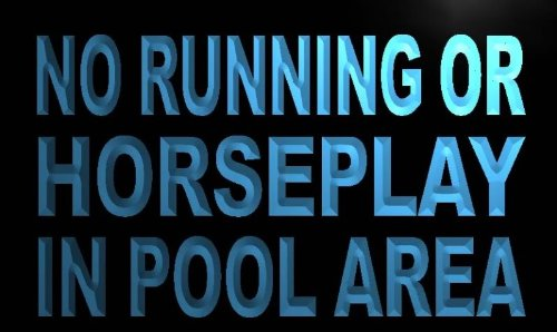 AdvPro Sign ADV PRO m837-b No Running or Horseplay in pool area Neon Light Barlicht Neonlicht Lichtwerbung